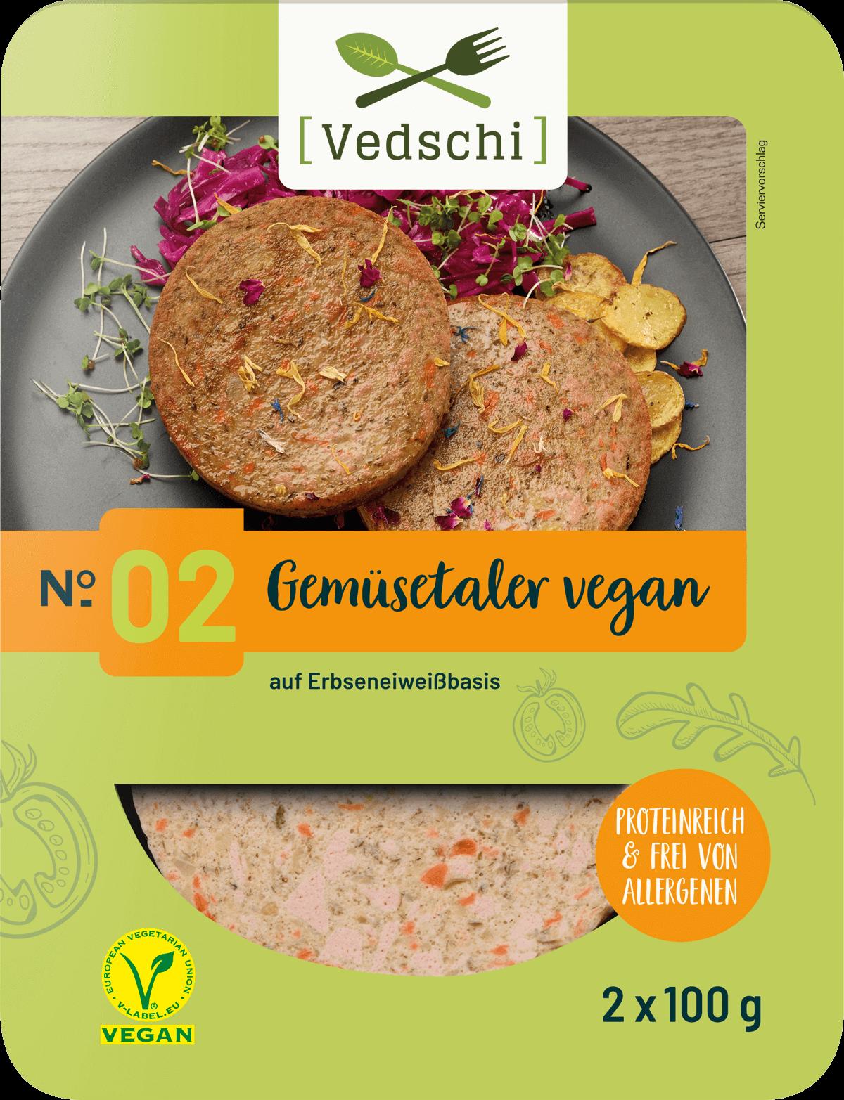 Vedschi № 02 Gemüsetaler vegan im Verpackungsdesign