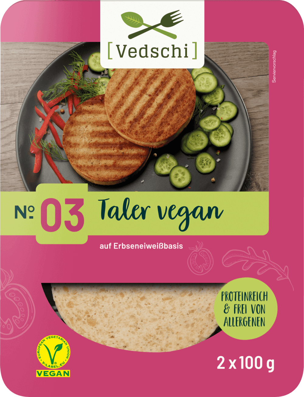 Vedschi № 03 Taler vegan im Verpackungsdesign